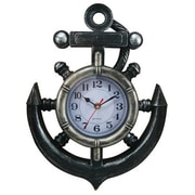 Handcrafted Nautical Decor Ship Wheel and Anchor 11'' Wall Clock
