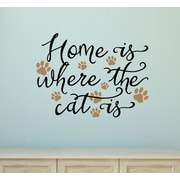 Enchantingly Elegant Home is Where the Cat is Vinyl Wall Decal
