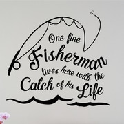 Enchantingly Elegant One Fine Fisherman Lives Here Sports Vinyl Wall Decal