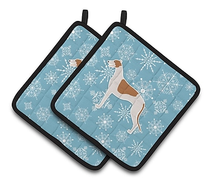 Caroline's Treasures Winter Snowflakes Greyhound Potholder (Set of 2) WYF078279732614