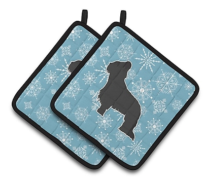 Caroline's Treasures Winter Snowflakes Briard Potholder (Set of 2) WYF078279732656