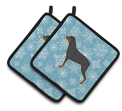 Caroline's Treasures Winter Snowflakes Rottweiler Potholder (Set of 2) WYF078279732488