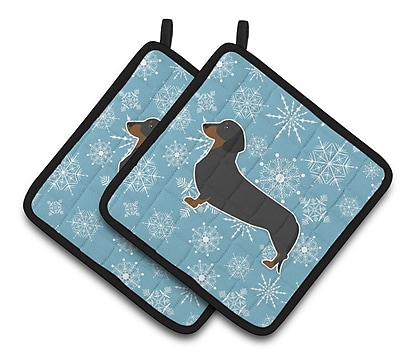 Caroline's Treasures Winter Snowflakes Dachshund Potholder (Set of 2) WYF078279732571
