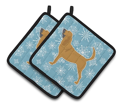Caroline's Treasures Winter Snowflakes Bloodhound Potholder (Set of 2) WYF078279732573