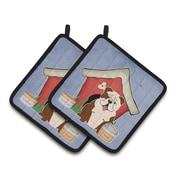 Caroline's Treasures Dog House English Bulldog Brindle Potholder (Set of 2); White