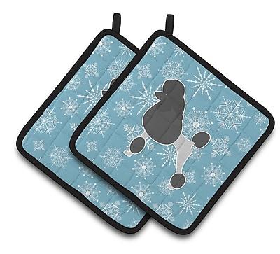 Caroline's Treasures Winter Snowflakes Poodle Potholder (Set of 2) WYF078279732362