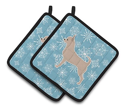 Caroline's Treasures Winter Snowflakes Chihuahua Potholder (Set of 2) WYF078279732440
