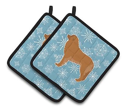 Caroline's Treasures Winter Snowflakes Leonberger Potholder (Set of 2) WYF078279732448
