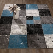 Casamode Functional Furniture City Geometric/Square Tiles Blue/Black Area Rug