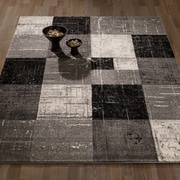 Casamode Functional Furniture City Geometric/Square Tiles Gray/Black Area Rug