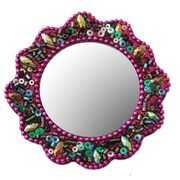 Novica Beads and Sequins Wall Mirror