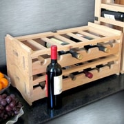 Merry Products Stacking Wooden Floor Wine Bottle Rack (Set of 2)