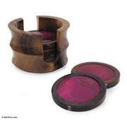 Novica 7 Piece Dyed Agate Coaster Set