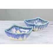 Novica Crackled Stoneware Squared Serving Bowl (Set of 2)