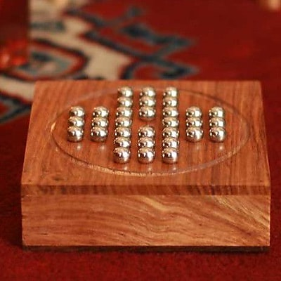 Novica Wood Steel Marble Solitaire Board Game WYF078279743746