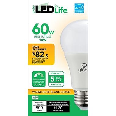 Globe – Ampoule DEL A19, 60 W, blanc doux