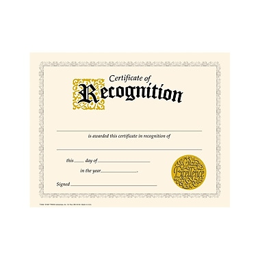 Trend Enterprises® Black Border Certificate of Recognition, 8 1/2