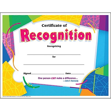 Trend Enterprises® Colorful Classics Certificate, Certificate of Recognition
