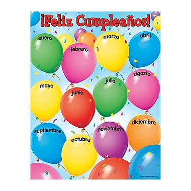 Trend Enterprises® Feliz Cumpleanos (Happy Birthday) Spanish Learning Chart