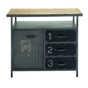 Cole & Grey 1 Door 3 Drawer Metal and Wood Utility Accent Cabinet