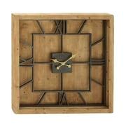 Cole & Grey Wood Metal Square Wall Clock