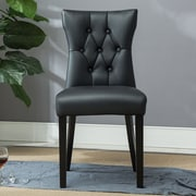 Belleze Elegant Tufted Design Faux Leather Upholstered Parsons Chair (Set of 2); Black