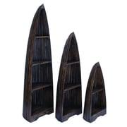 Cole & Grey 3 Piece Wood Boat Accent Shelves Set