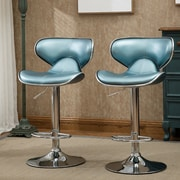 Roundhill Furniture Adjustable Height Swivel Bar Stool (Set of 2); Blue