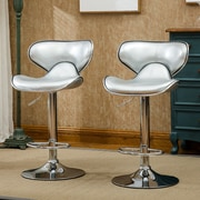Roundhill Furniture Adjustable Height Swivel Bar Stool (Set of 2); Silver