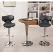 Roundhill Furniture Adjustable Height Swivel Bar Stool (Set of 2); Gray