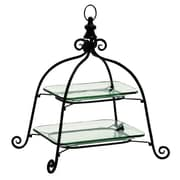 Cole & Grey Glass Metal 2 Tiered Stand