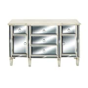 Cole & Grey 2 Door 5 Drawer Wood Mirror Accent Cabinet
