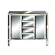Cole & Grey 2 Door 4 Drawer Wood Mirror Accent Cabinet