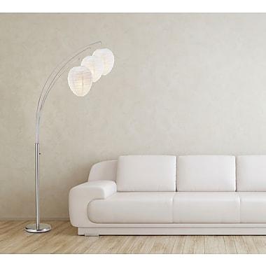 Adesso® 4108-22 Belle Arc Lamp, 3 x 60 W, Satin Steel