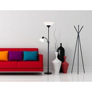 Adesso® Piedmont Torchiere Floor Lamp With Reading Light, Black