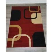 Casamode Functional Furniture Elegant Modern Contemporary Burgundy/Black Area Rug