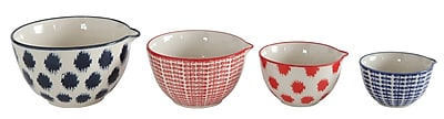 Creative Co-Op 4-Piece Stoneware Hand-Stamped Bowl Set