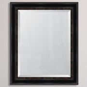 Melissa Van Hise Black w/ Gold Emboss Resin Frame Wall Mirror; 34'' H x 28'' W x 1.25'' D