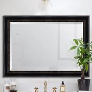 Melissa Van Hise Black w/ Gold Emboss Resin Frame Wall Mirror; 42'' H x 30'' W x 1.25'' D