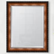 Melissa Van Hise 3.125'' Faux Walnut Veneer w/ Black Compo Edge Resin Frame Wall Mirror