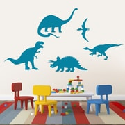 SweetumsWallDecals 5 Piece Dinosaur Wall Decal Set; Teal