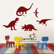 SweetumsWallDecals 5 Piece Dinosaur Wall Decal Set; Cranberry