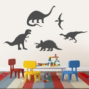 SweetumsWallDecals 5 Piece Dinosaur Wall Decal Set; Dark Gray