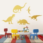 SweetumsWallDecals 5 Piece Dinosaur Wall Decal Set; Gold
