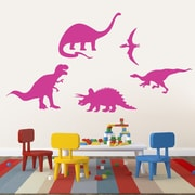 SweetumsWallDecals 5 Piece Dinosaur Wall Decal Set; Hot Pink