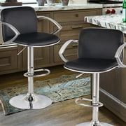 AdecoTrading Adjustable Height Swivel Bar Stool (Set of 2); Black