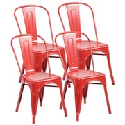 United Chair Industries LLC Metal Stackable Side Chair (Set of 4); Matte Red