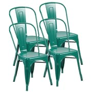United Chair Industries LLC Metal Stackable Side Chair (Set of 4); Matte Green