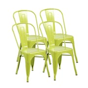 United Chair Industries LLC Metal Stackable Side Chair (Set of 4); Matte Apple Green