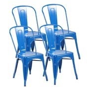 United Chair Industries LLC Metal Stackable Side Chair (Set of 4); Bright Deep Blue
